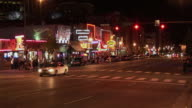 T/L, WS, Traffic on Broadway at night, Nashville, Tennessee, USA