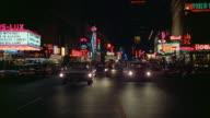 WS POV Traffic on Broadway at night / New York City, New York, USA