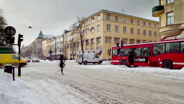 MS T/L Traffic on busy street in Stockholm / Stockholm, Stockholm, Sweden