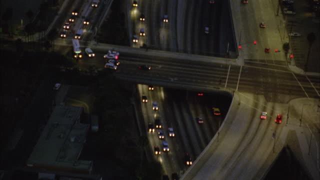 WS POV AERIAL Traffic on freeway / California, USA