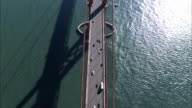 AERIAL Traffic on Golden Gate Bridge / San Francisco, USA