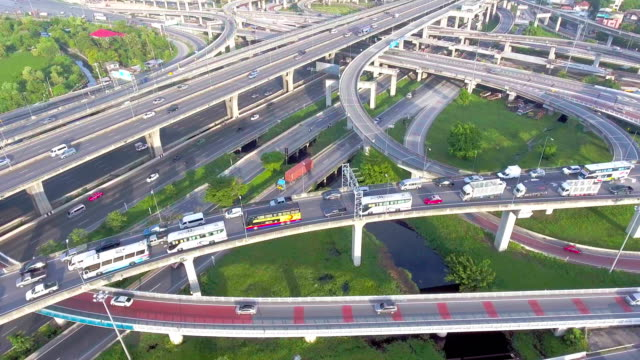 Traffic on highway in the morning, Bangkok, Thailand, Aerial video