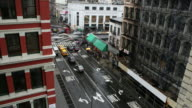 T/L WS HA Traffic on intersection in Soho, rainy day, New York City, New York, USA