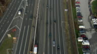 AERIAL ZO Traffic on multiple lane highway / Baltimore, Maryland, USA