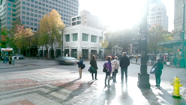 traffic on road in midtown of modern city timelapse