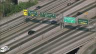 WS POV ZO Traffic on Santa Monica freeway with cityscape / California, USA