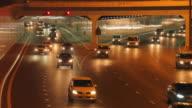 WS Traffic on Sheikh Zayed Road at night / Dubai, United Arab Emirates