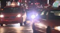 MS Traffic on street at night / New York City, New York, USA