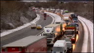 Traffic on the M74 motorway caused by heavy snow