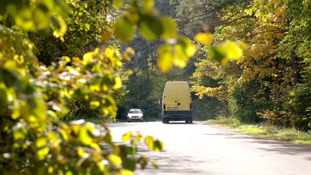 Traffic on the road in the autumn forest.