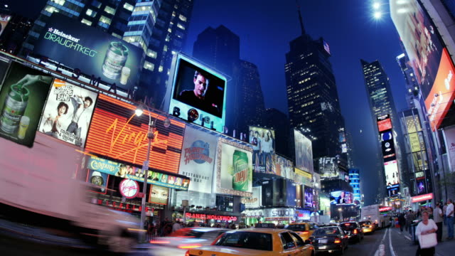 T/L, MS, FISH EYE, Traffic on Times Square at night, Manhattan, New York City, New York, USA