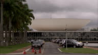 A traffic passes the National Congress of Brazil. Available in HD.