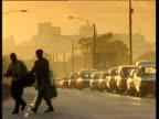 Traffic queues in golden evening light