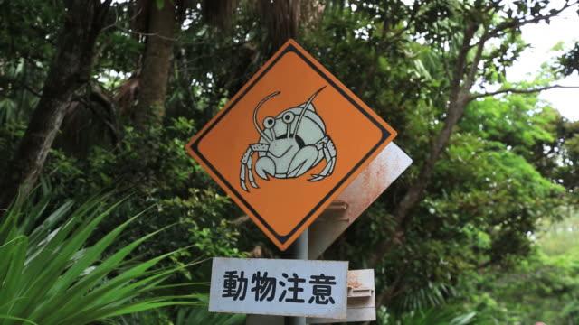 MS Traffic sign of Coenobita, Endemism of Ogasawara islands and Natural monument / Ogasawara Islands, Tokyo, Japan