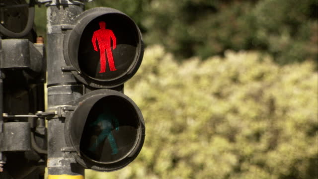 A traffic signal indicates 'don't walk'. Available in HD