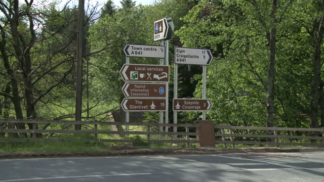 WS Traffic signs near city / Dufftown, Speyside, Scotland