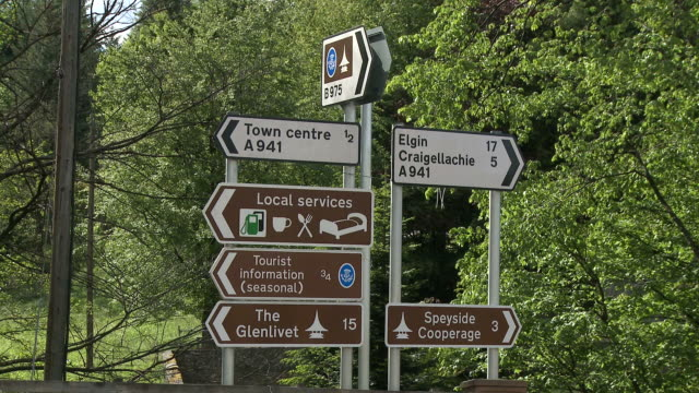 MS Traffic signs near city / Dufftown, Speyside, Scotland