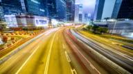 traffic through city,time lapse