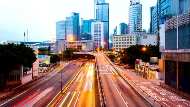 traffic through modern city at night,time lapse