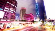 traffic through modern city ,taipei,time lapse