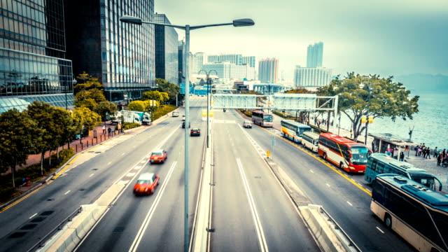 traffic through modern city,time lapse