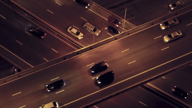 Traffic top view at night video 4k.