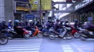 Traffing crossing busy junction in Bangkok
