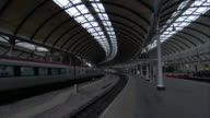 A train arrives at Newcastle station. Available in HD.