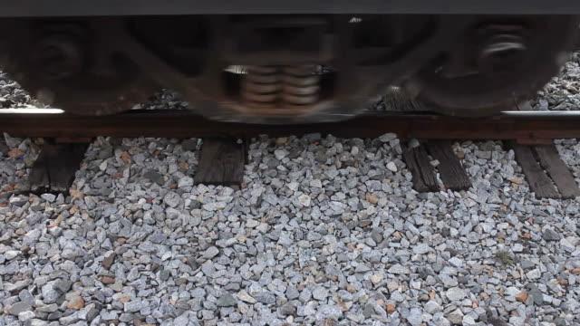 Zug axle auf Schienen.