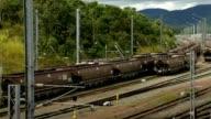 Train Carriages in a Rail Yard