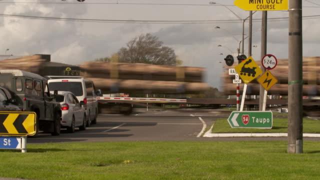 A Train carrying logs passing through Feilding New Zealand