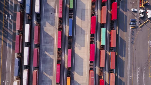 Train Cars and Containers in Intermodal Shipping Yard