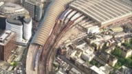 Train derails at Waterloo station causing delays AIR VIEW / AERIAL South West Trains train derailed just outside Waterloo station
