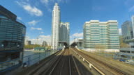 Train drive lapse footage of Docklands Light Railway train passing through London's Docklands.