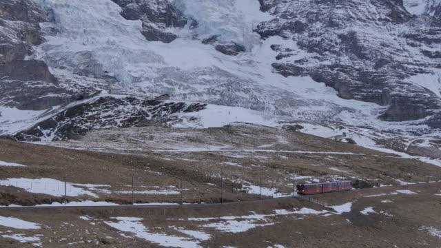 Train from Jungfraujoch, Kleine Scheidegg, Jungfrau region, Bernese Oberland, Swiss Alps, Switzerland, Europe