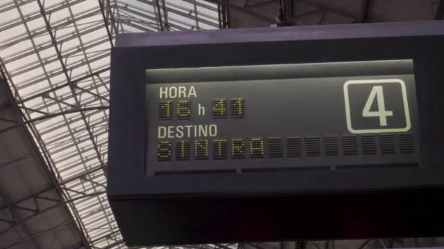 Train Lisbon to Sintra station lighted sign