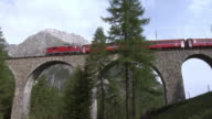 Train of the Rhaetian Railway (RhB) on Albula Viaduct III