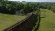 LOW AERIAL, Train on Severn Valley Railway, Worcestershire, England