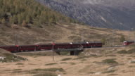 Train on the Bernina Railway between Ospizio Bernina and Bernina Lagalb