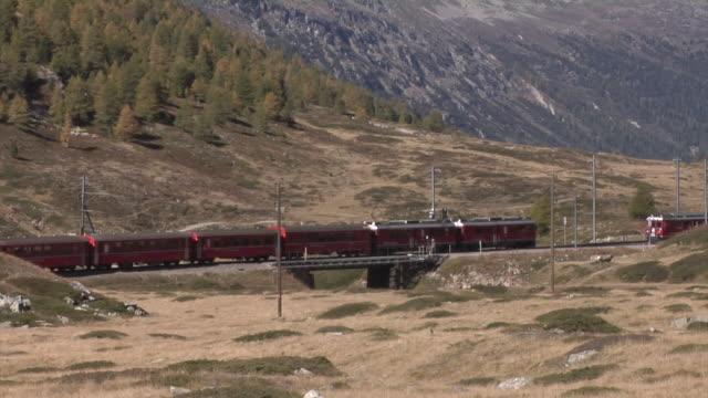 Train on the Bernina Railway between Ospizio Bernina and Bernina Lagalb