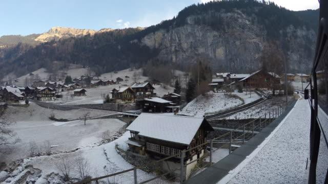 Train ride from Lauterbrunnen to Wengen, Jungfrau region, Bernese Oberland, Swiss Alps, Switzerland, Europe