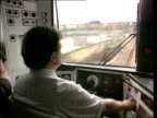 Train safety system ITN ATP protection system controls in cab of train Driver at controls of train as along Train passing seen from cab of train...