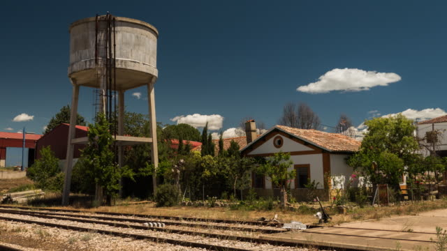 train station in a little town in castilla de la mancha spain