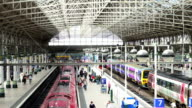 Train station in Manchester, England UK
