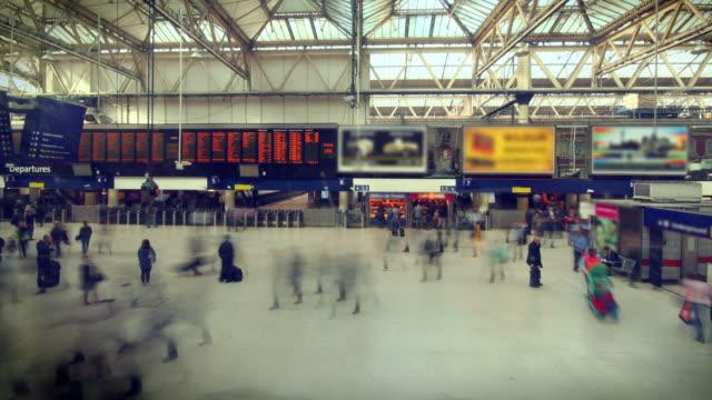 Train Station Rush Hour Time Lapse. HD, NTSC, PAL