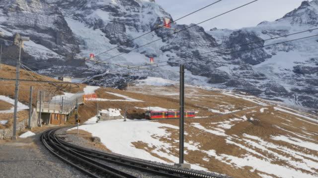 Train to Jungfraujoch, Kleine Scheidegg, Jungfrau region, Bernese Oberland, Swiss Alps, Switzerland, Europe