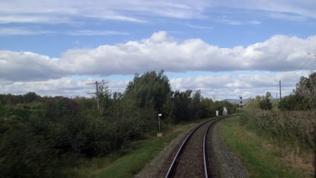 Train tracks behind moving train