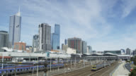 Train Traffic and view towards Southern Cross Train Station, Melbourne, Victoria, Australia