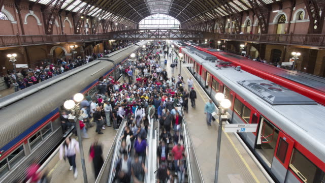 TL, WS, HA Trains and crowds in a Sao Paulo station at rush hour / Sao Paulo, Brazil