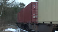 Trains carrying US Military equipment and vehicles arriving in Poland